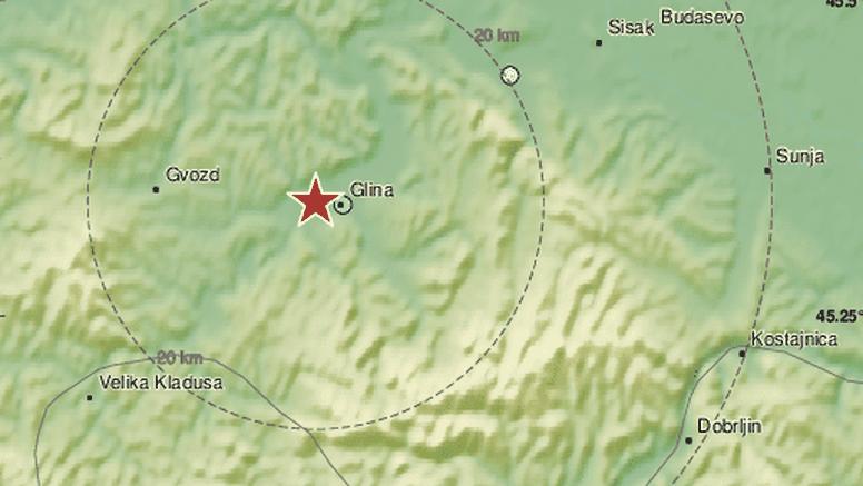 Novi potres se osjetio kod Gline: Bio je jačine 3,2 po Richteru: 'Prvo tutnjava pa se zatreslo'