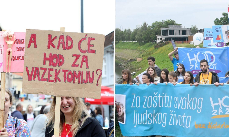 Jedan grad, dva prosvjeda: U Sisku se susreli Hod za život i Hod protiv fundamentalizma