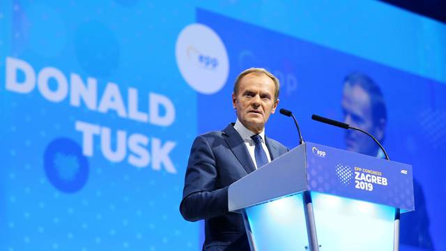 European Council President Donald Tusk speaks during the EPP congress in Arena Zagreb hall in Zagreb