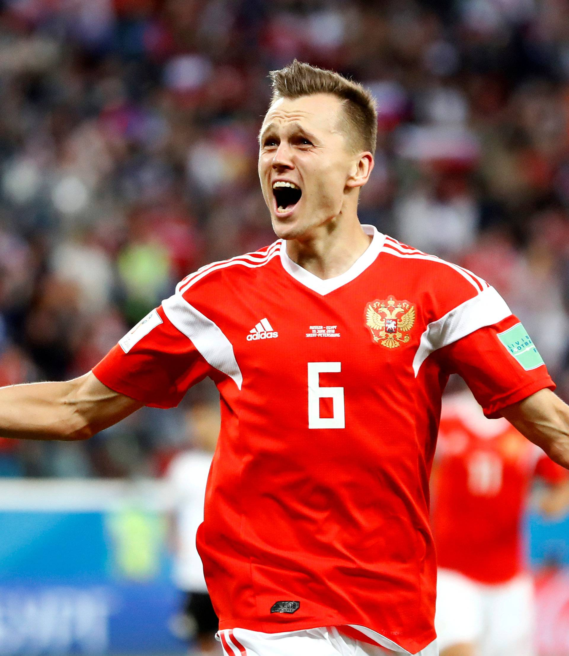 FILE PHOTO: Russia's Denis Cheryshev celebrates scoring their second goal against Egypt - Saint Petersburg Stadium, Russia - June 19, 2018.