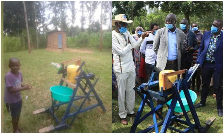 Za sprječavanje korone: Maleni Kenijac napravio je drveni stroj za pranje ruku s dvije papučice