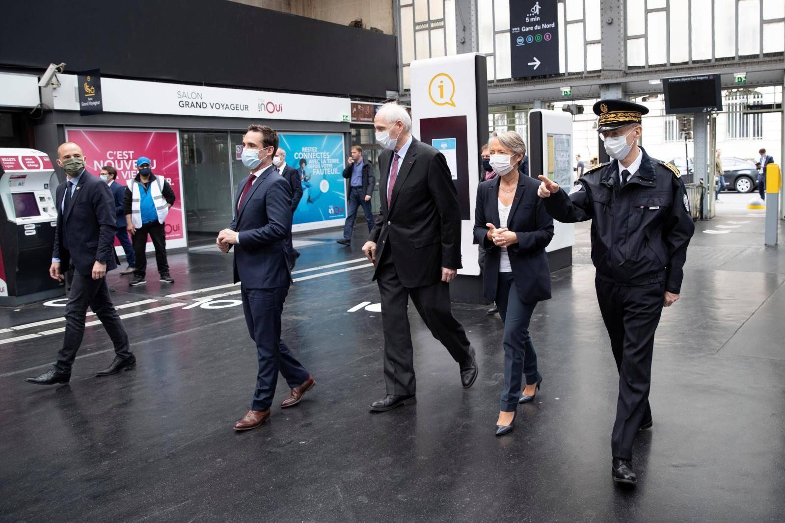 French Transport Ministers visit the Gare de l'Est train station in Paris