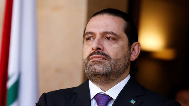 Lebanon's Prime Minister Saad al-Hariri is seen at the governmental palace in Beirut