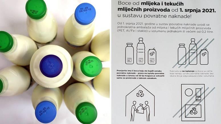 Od danas se vraća povratna naknada za boce od mlijeka, jogurta ali i za bočice od 2 dcl