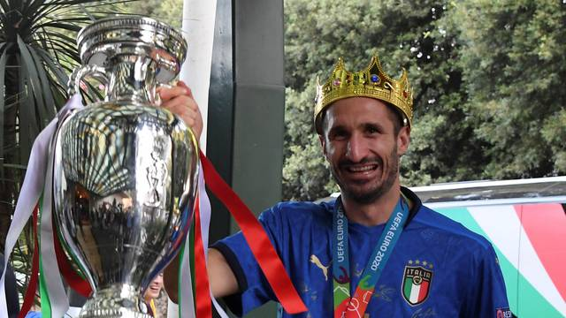 Euro 2020 - Italy players arrive at hotel in Rome after winning the European Championship