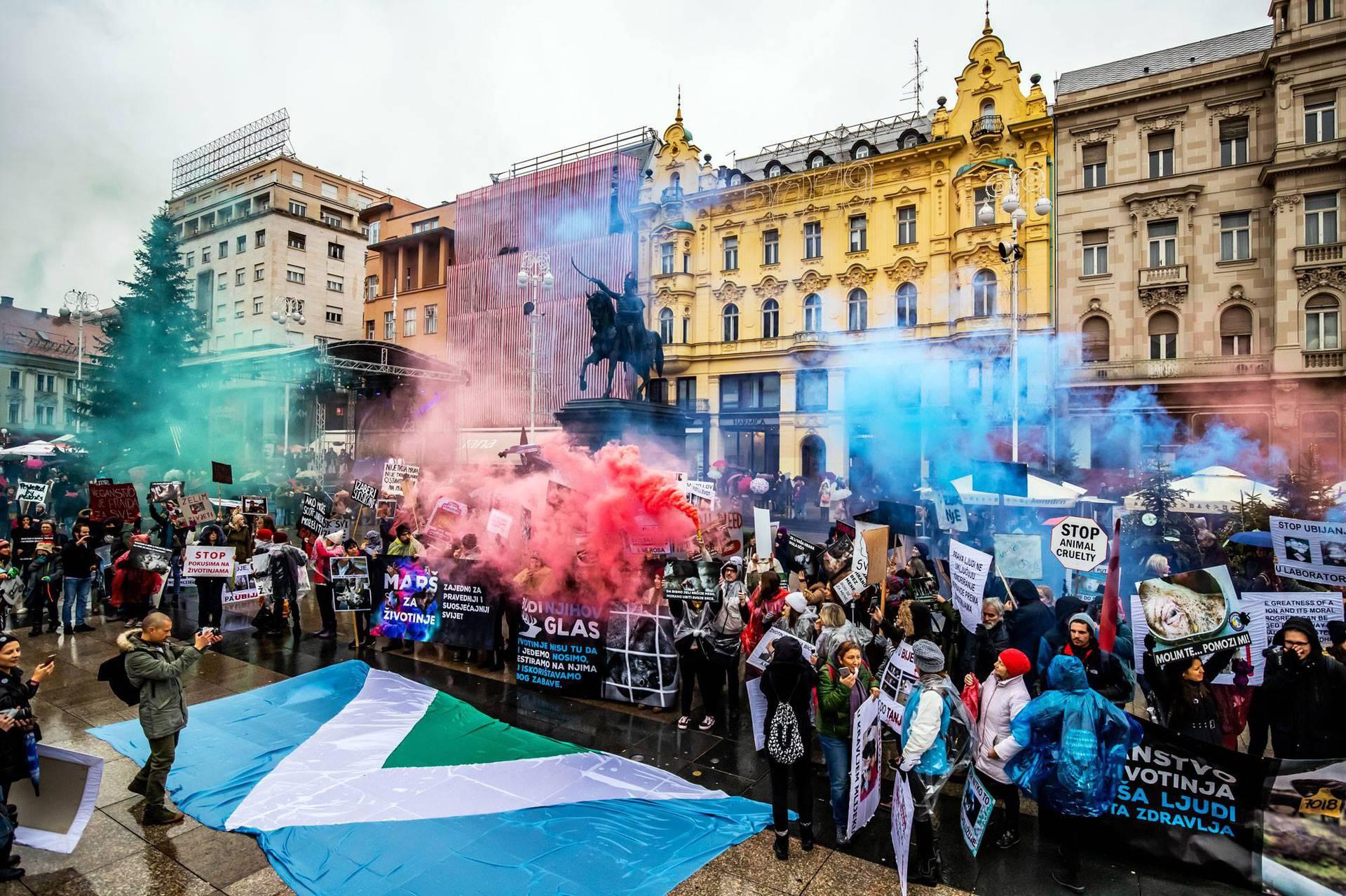 Veganske zastave po Zagrebu: 'Spasite životinje i planet'