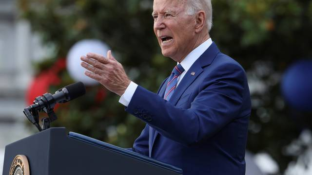 U.S. President Joe Biden delivers remarks at the White House at a celebration of Independence Day in Washington
