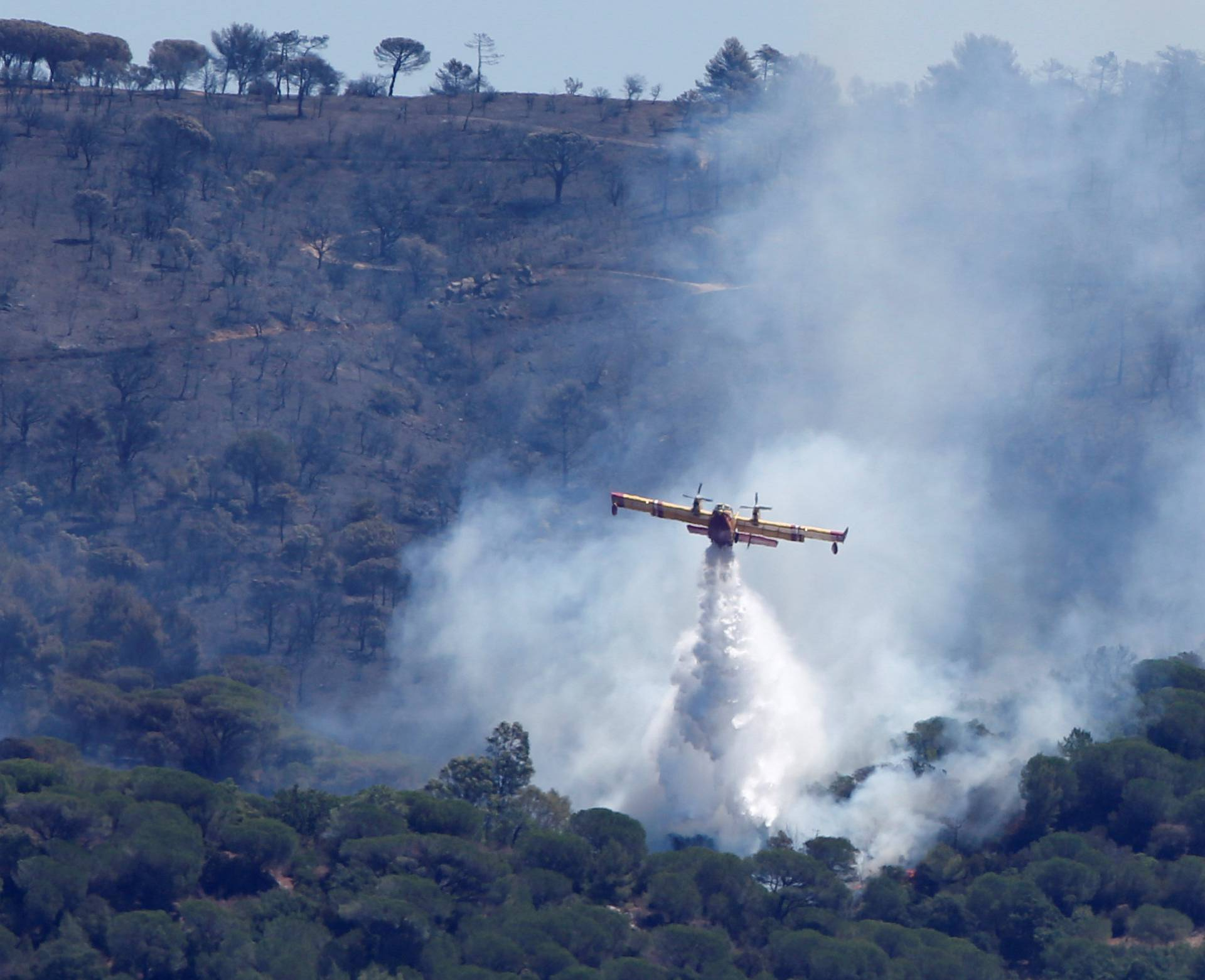 A Canadair firefighting plane drops water to extinguish a forest fire on La Croix-Valmer from Cavalaire-sur-Mer
