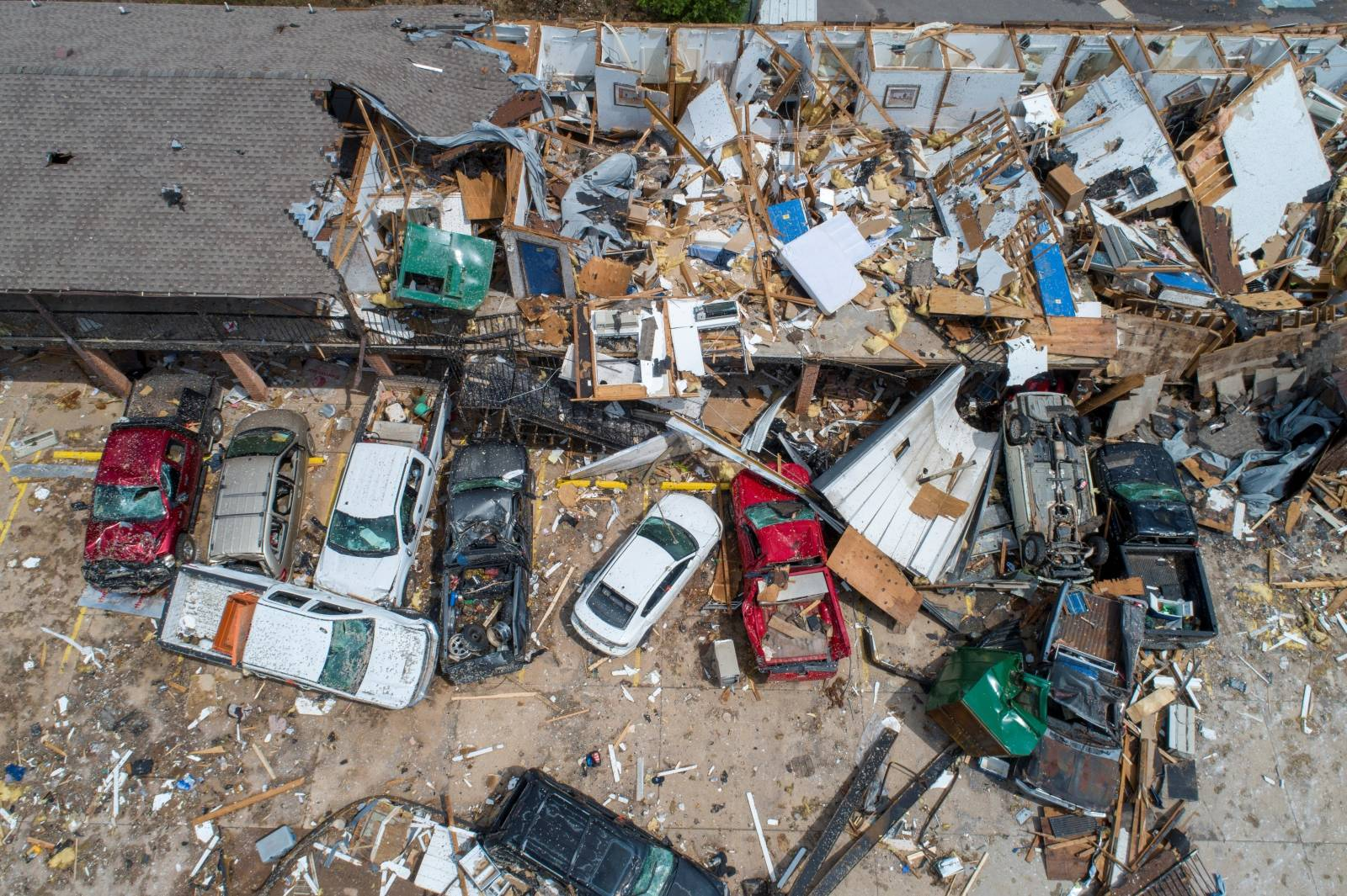 Damage to the American Budget Value Inn is seen in an aerial photo after a tornado touched down overnight in El Reno