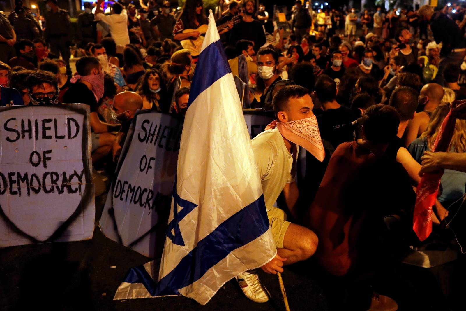 Israelis protest against PM Netanyahu's alleged corruption and the way of handling the COVID-19 crisis in Jerusalem
