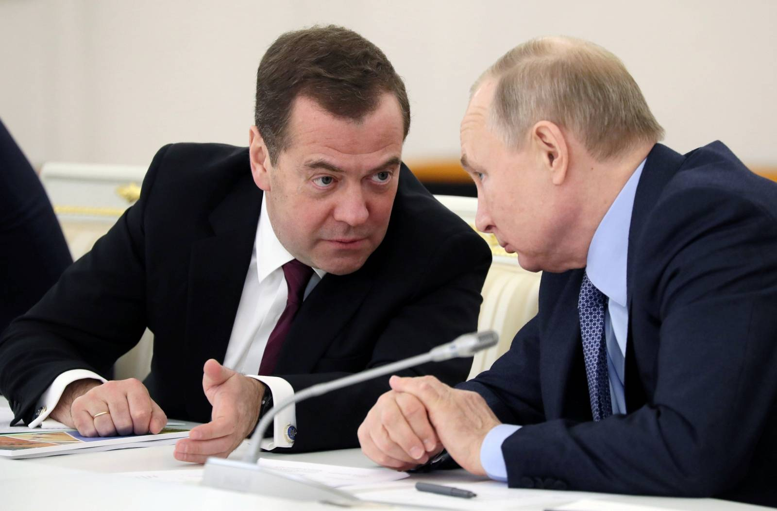 Russian President Putin and Prime Minister Medvedev attend a session of the State Council in Moscow