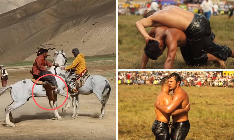 Nauljeni polugoli turski hrvači i jahači konja koji kradu kozji leš