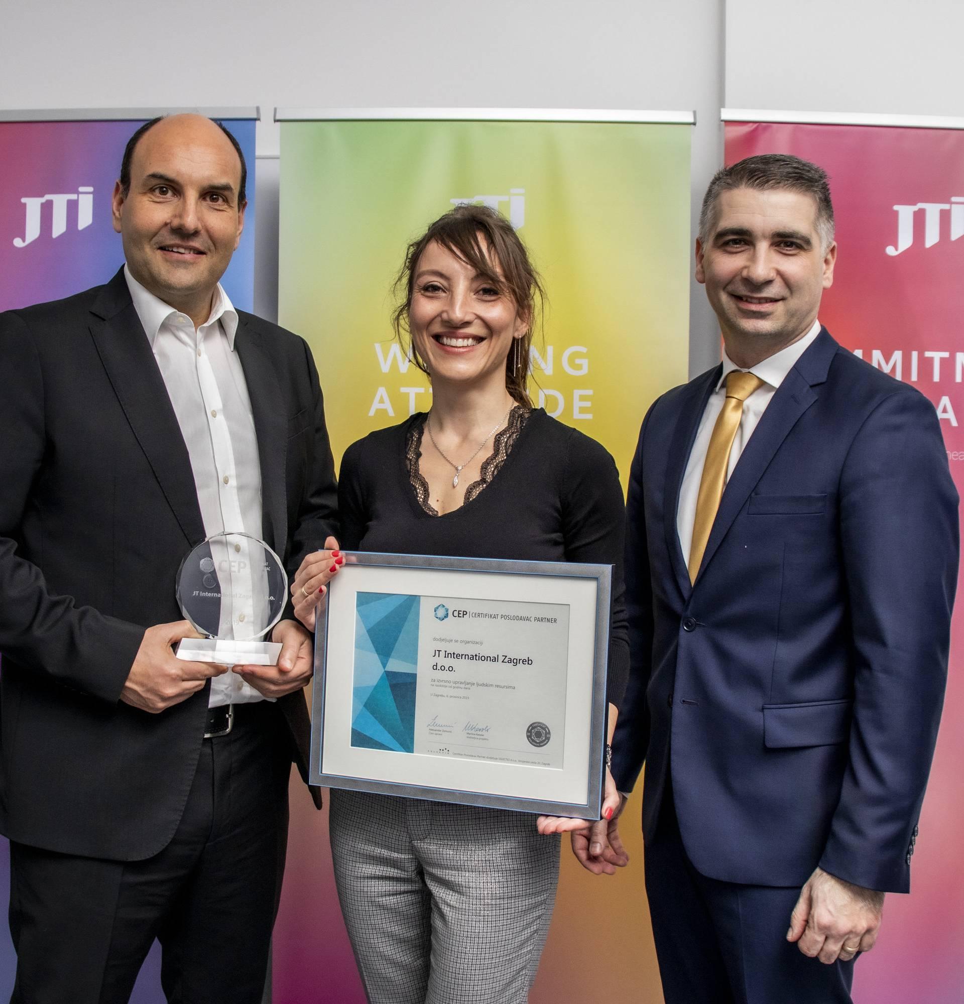 Certifikat Poslodavac Partner dodijeljen tvrtki JTI