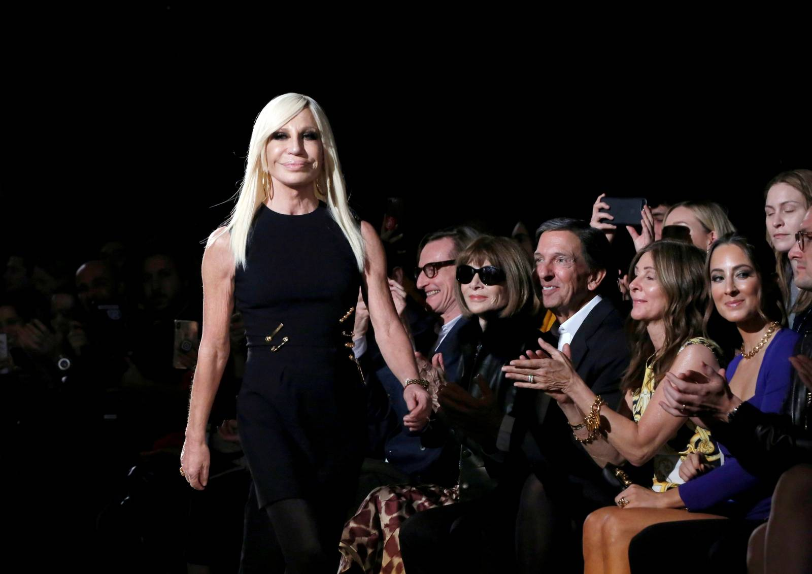 FILE PHOTO: Donatella Versace walks down the catwalk after her Versace presentation in New York