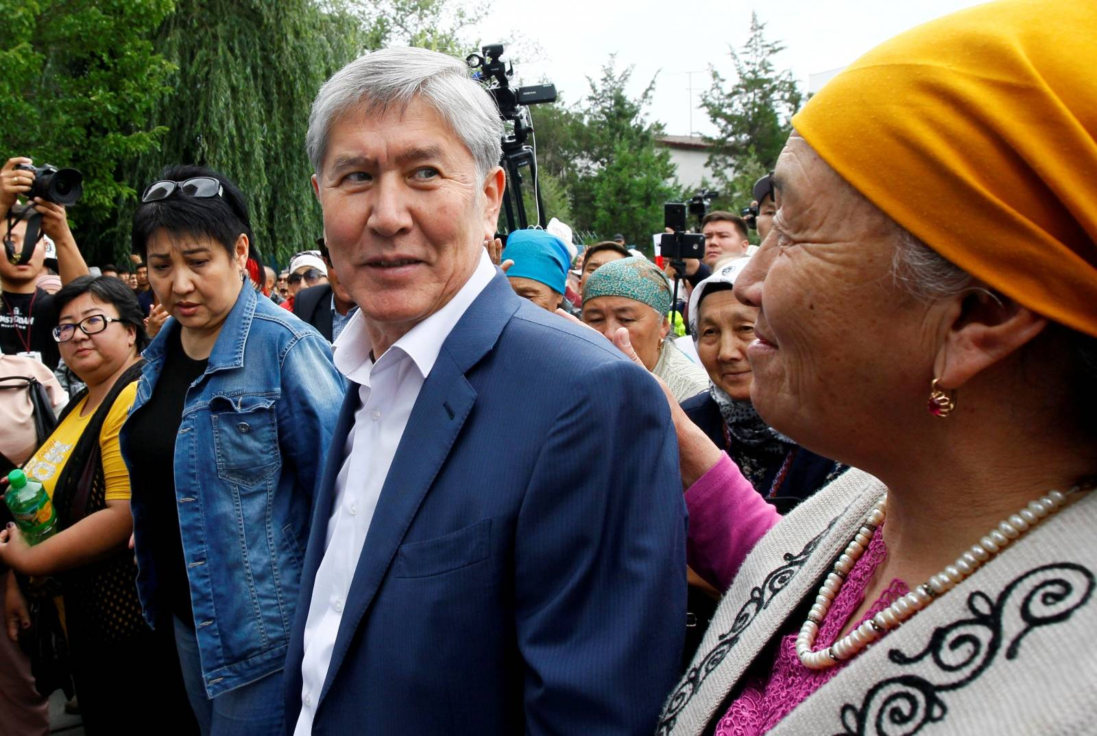 FILE PHOTO: Kyrgyz former President Atambayev, who was stripped of legal immunity after a parliamentary vote, and his supporters attend a rally in Bishkek