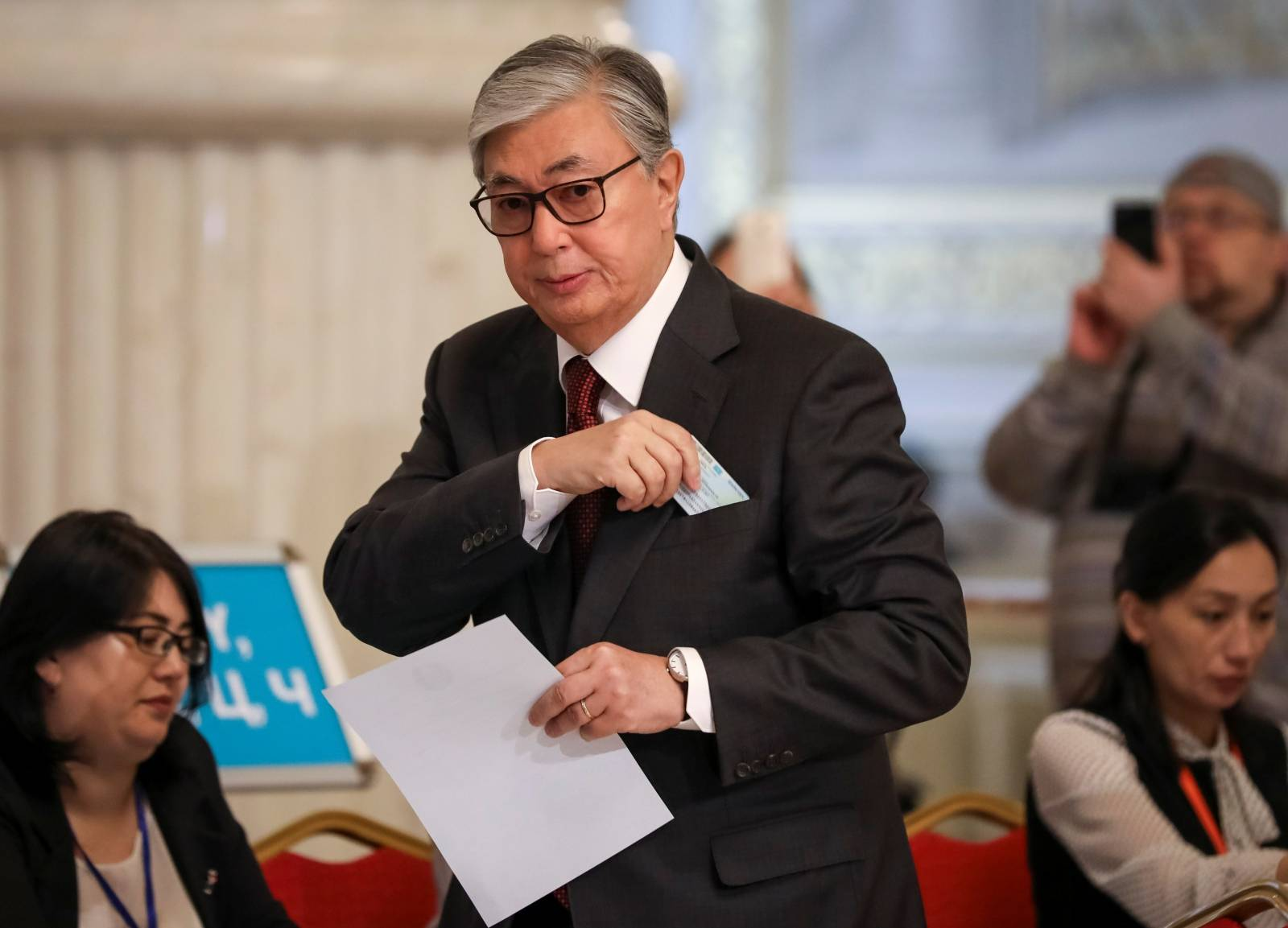 Kassym-Jomart Tokayev, Kazakhstan's President and presidential candidate, votes during presidential election in Nur-Sultan