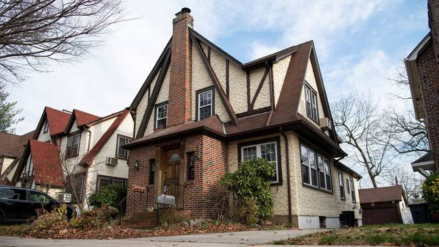 The childhood home of U.S. President Donald Trump is seen in the Jamaica Estates section of Queens borough of New York
