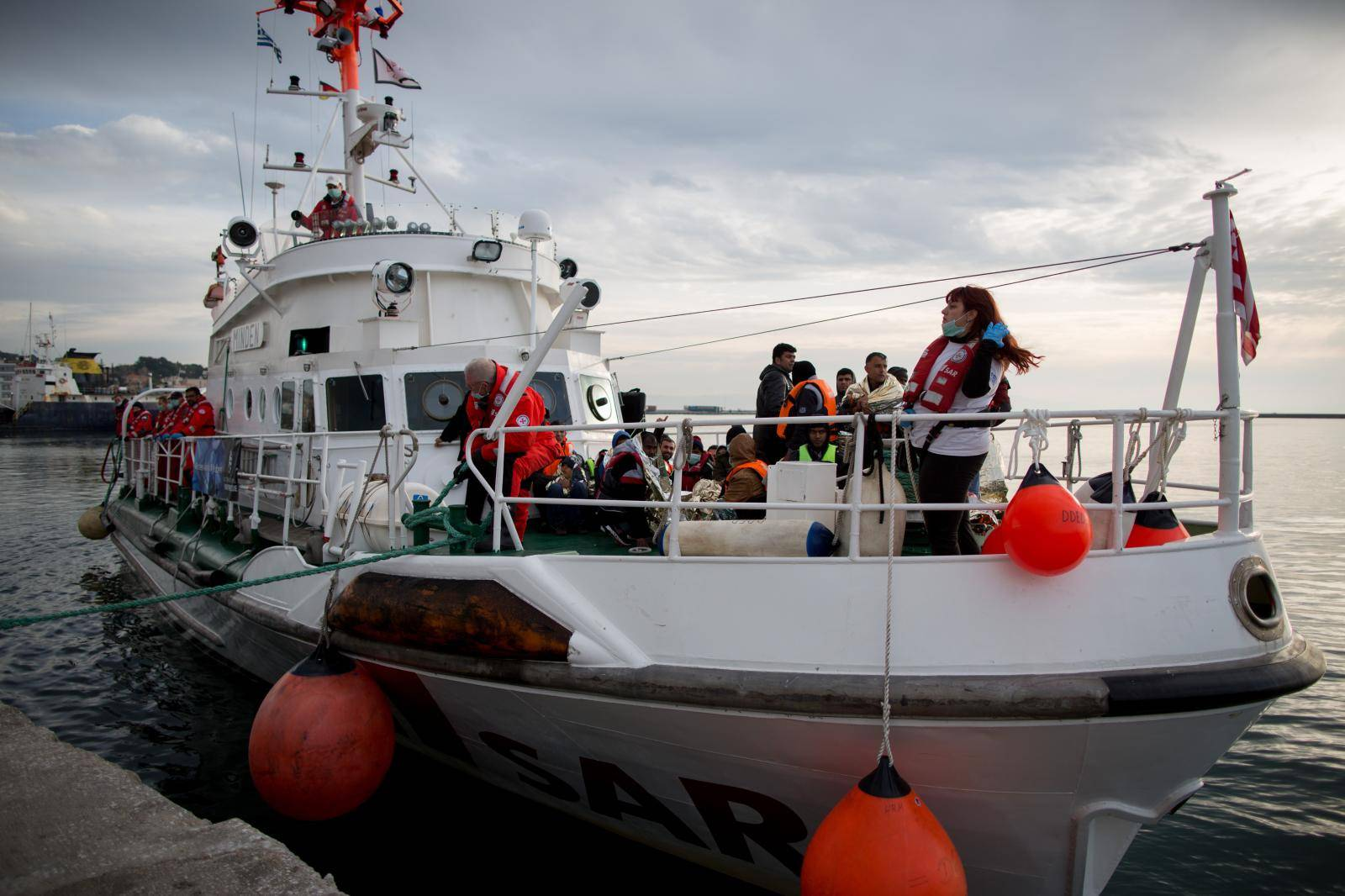 Refugees on the island of Lesbos