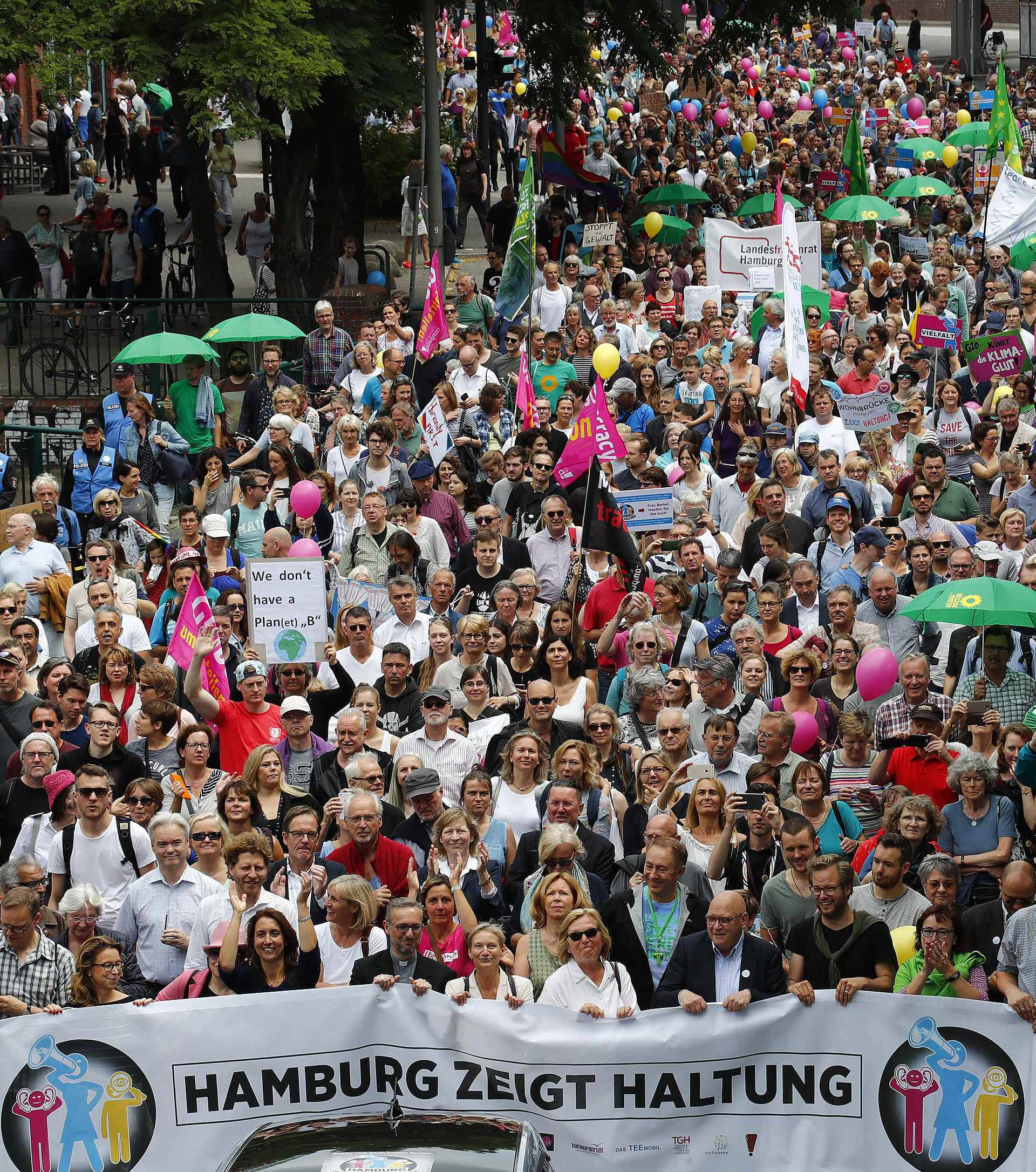 People take part in a demonstration during the G20 summit in Hamburg
