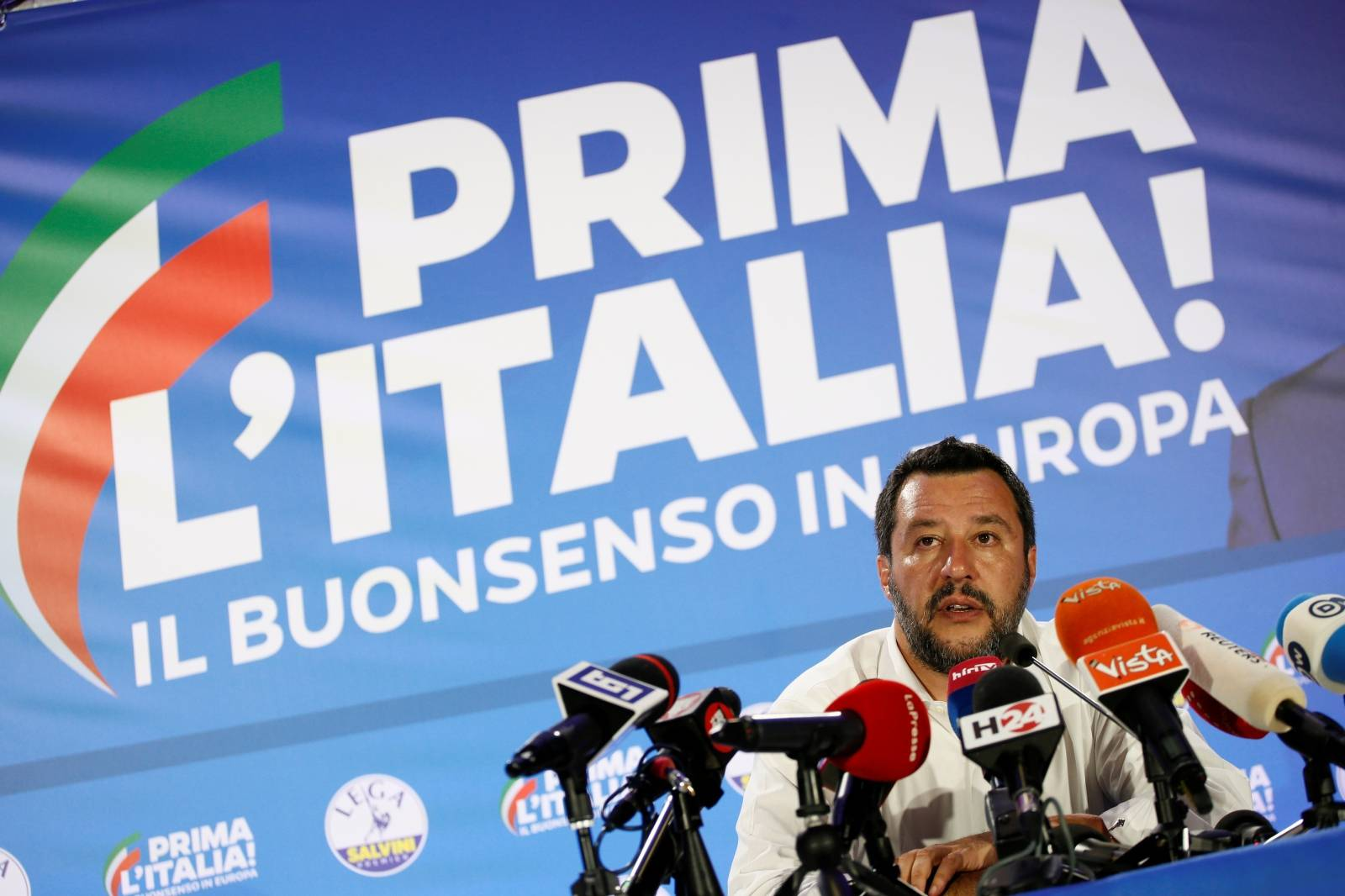 Italian Deputy Prime Minister and leader of far-right League party Matteo Salvini speaks during his European Parliament election night event in Milan