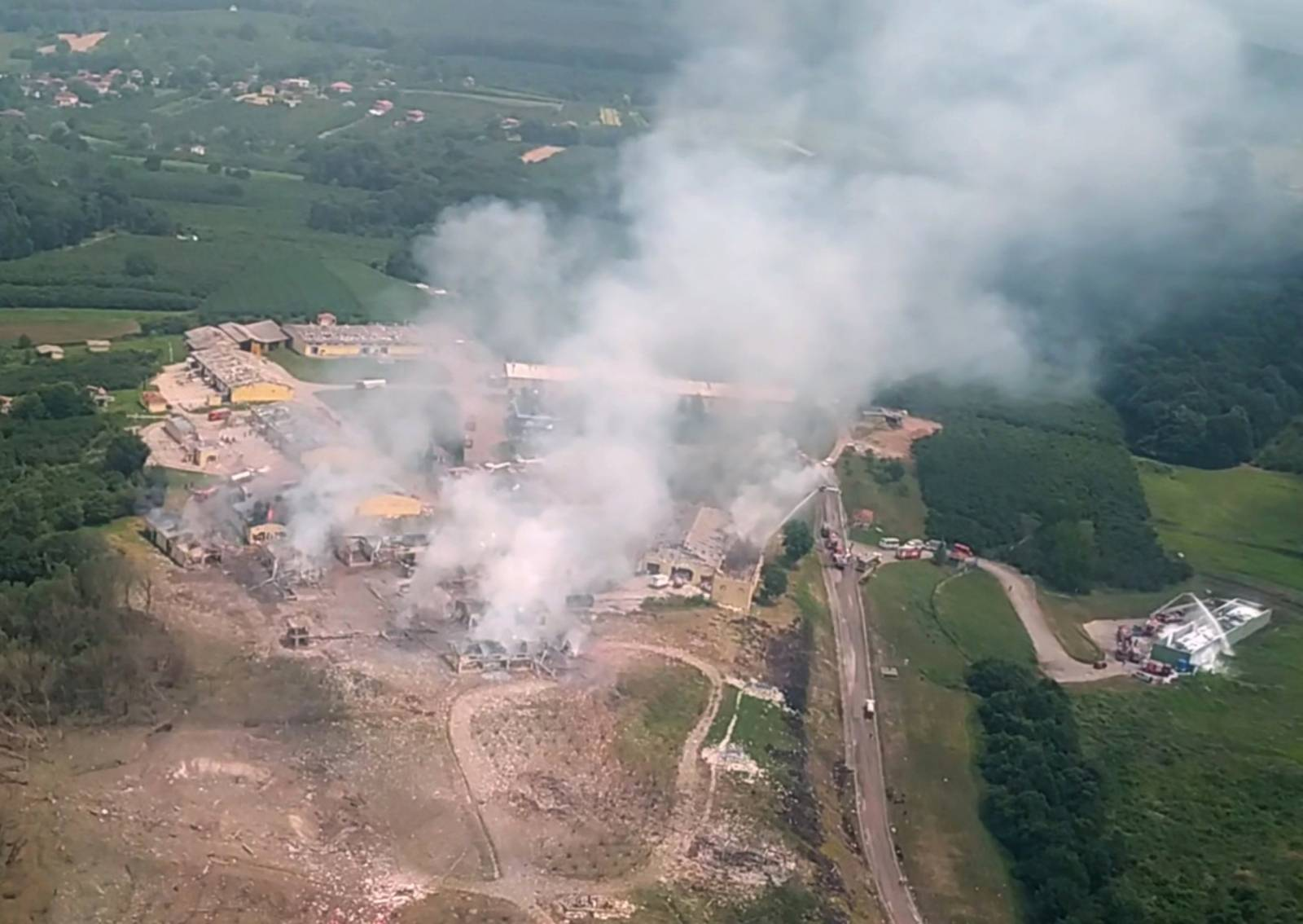 An aerial view of the firework factory following a blast is seen from the helicopter of Turkish Interior Minister Suleyman Soylu in Hendek