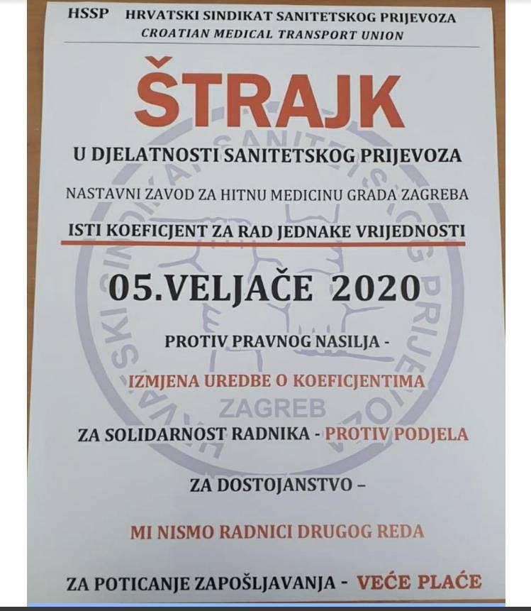 Sanitetski prijevoz štrajka od srijede do ispunjenja zahtjeva