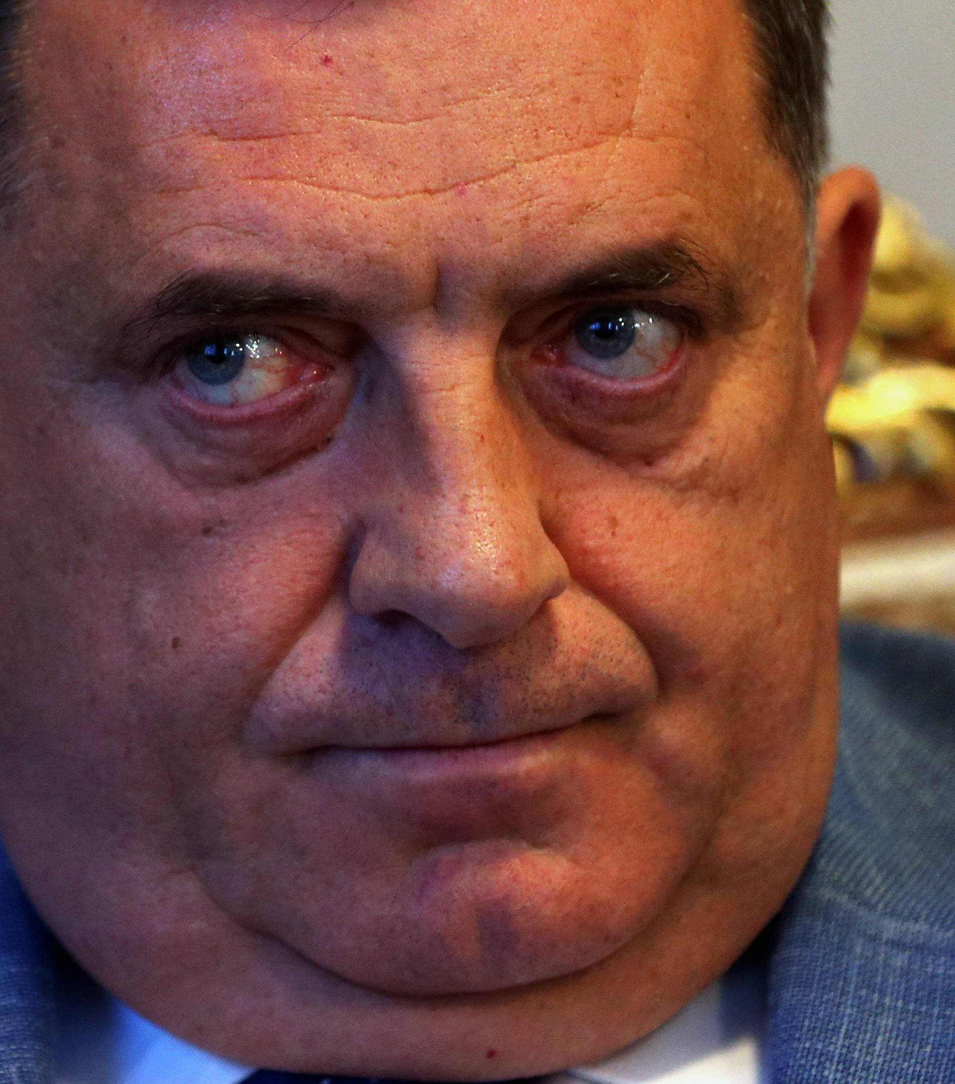 Milorad Dodik, President of the Republika Srpska listen a question during interview with Reuters in his office in Banja Luka
