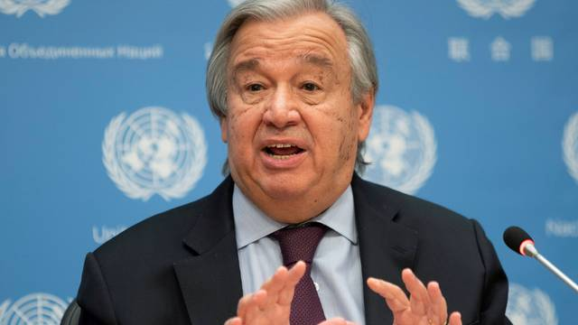 FILE PHOTO: United Nations Secretary-General Guterres speaks during a news conference at U.N. headquarters in New York City, New York