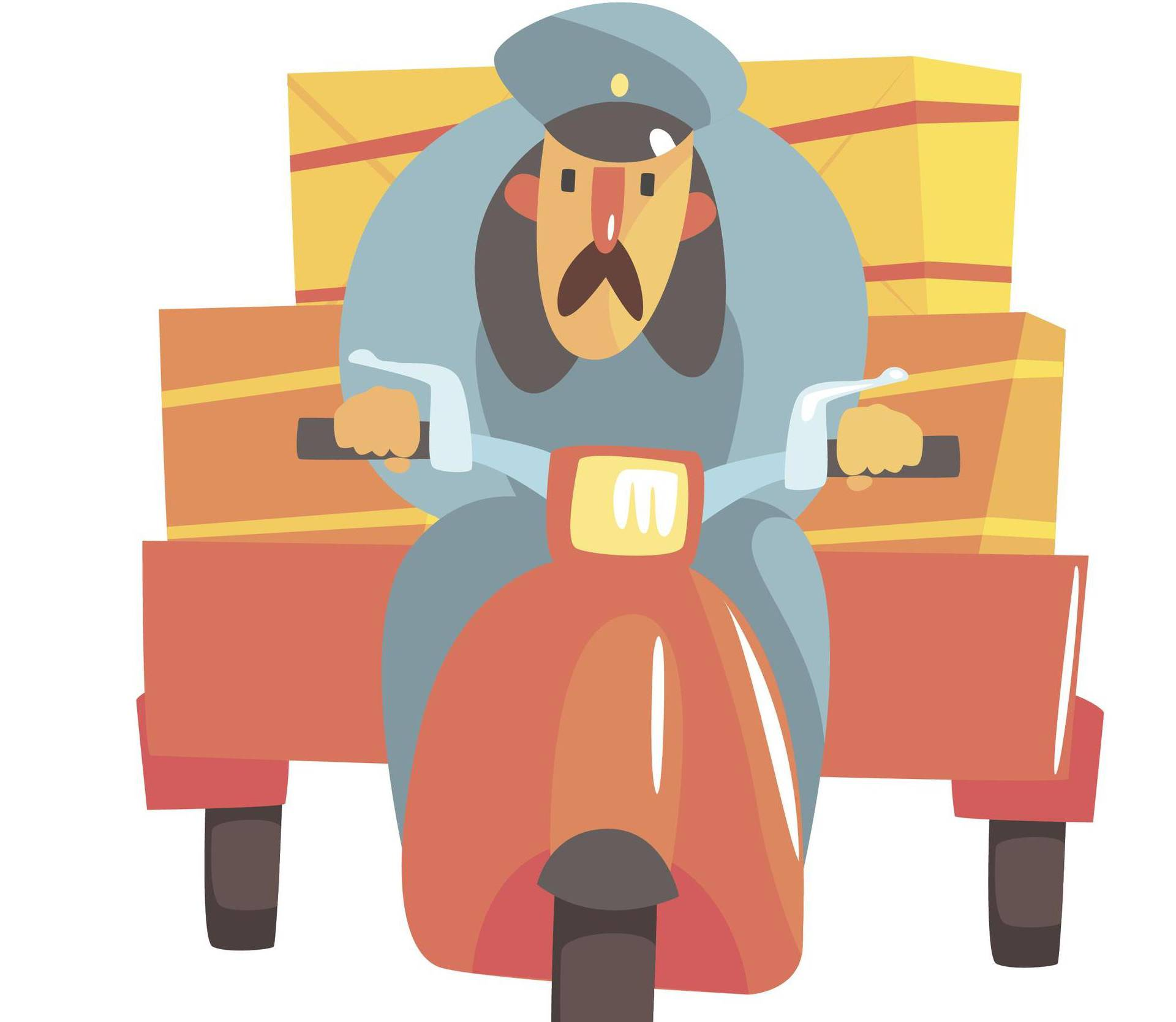 Postman Riding Red Motorbike With Trailer. Graphic