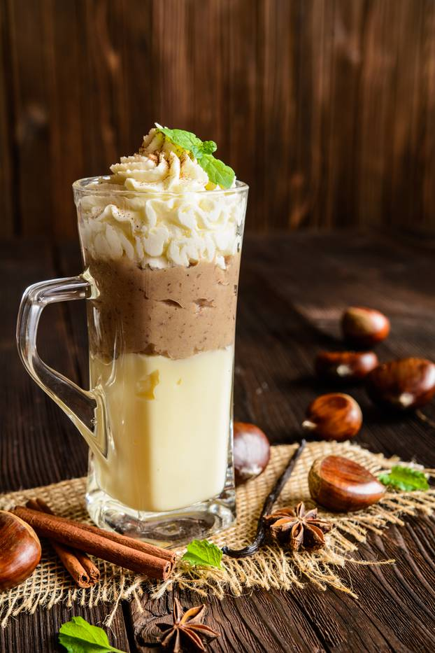 Vanilla pudding with chestnuts puree and whipped cream