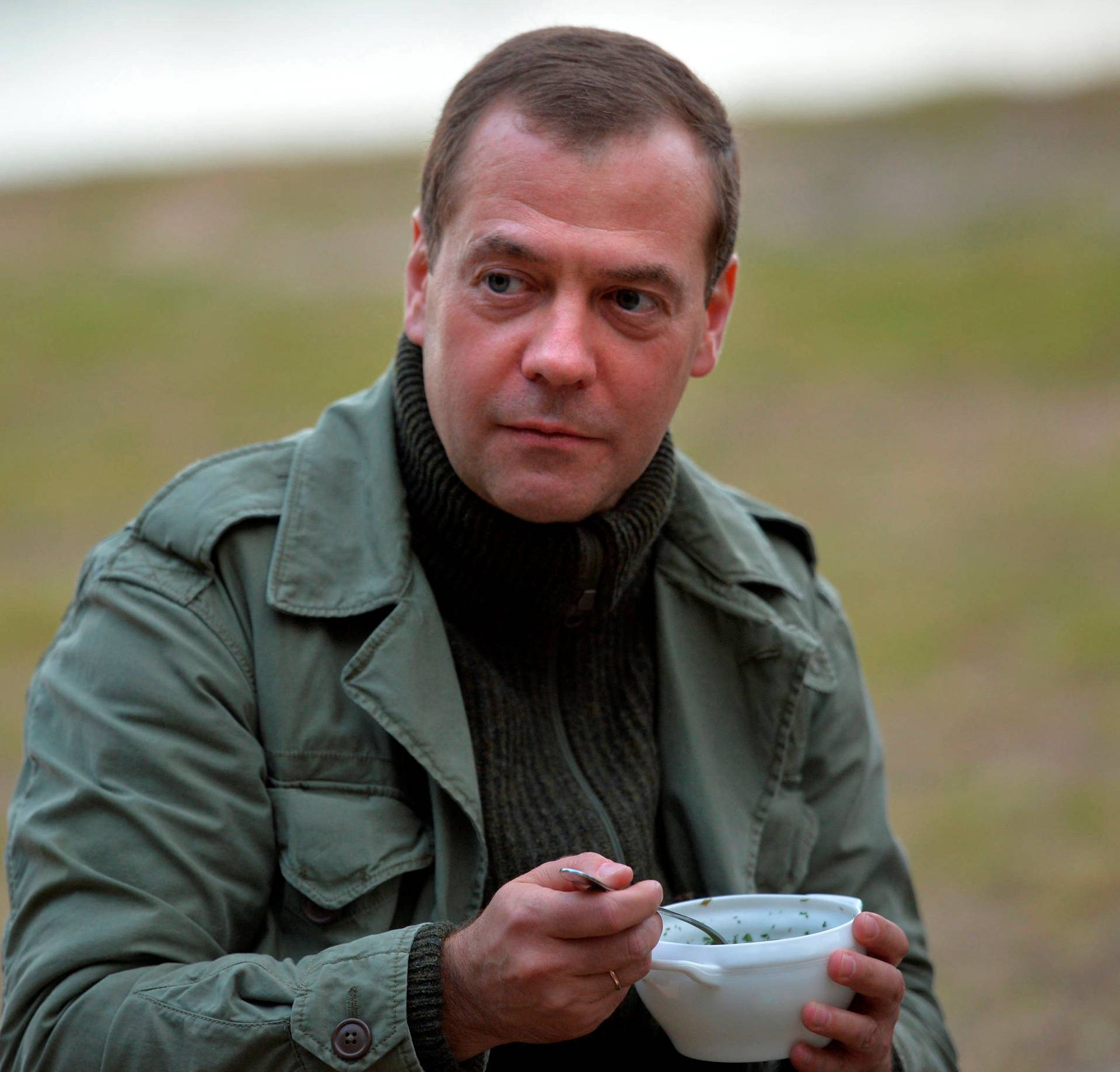 Russian Prime Minister Dmitry Medvedev is seen after touring on Lake Ilmen in Novgorod region, Russia