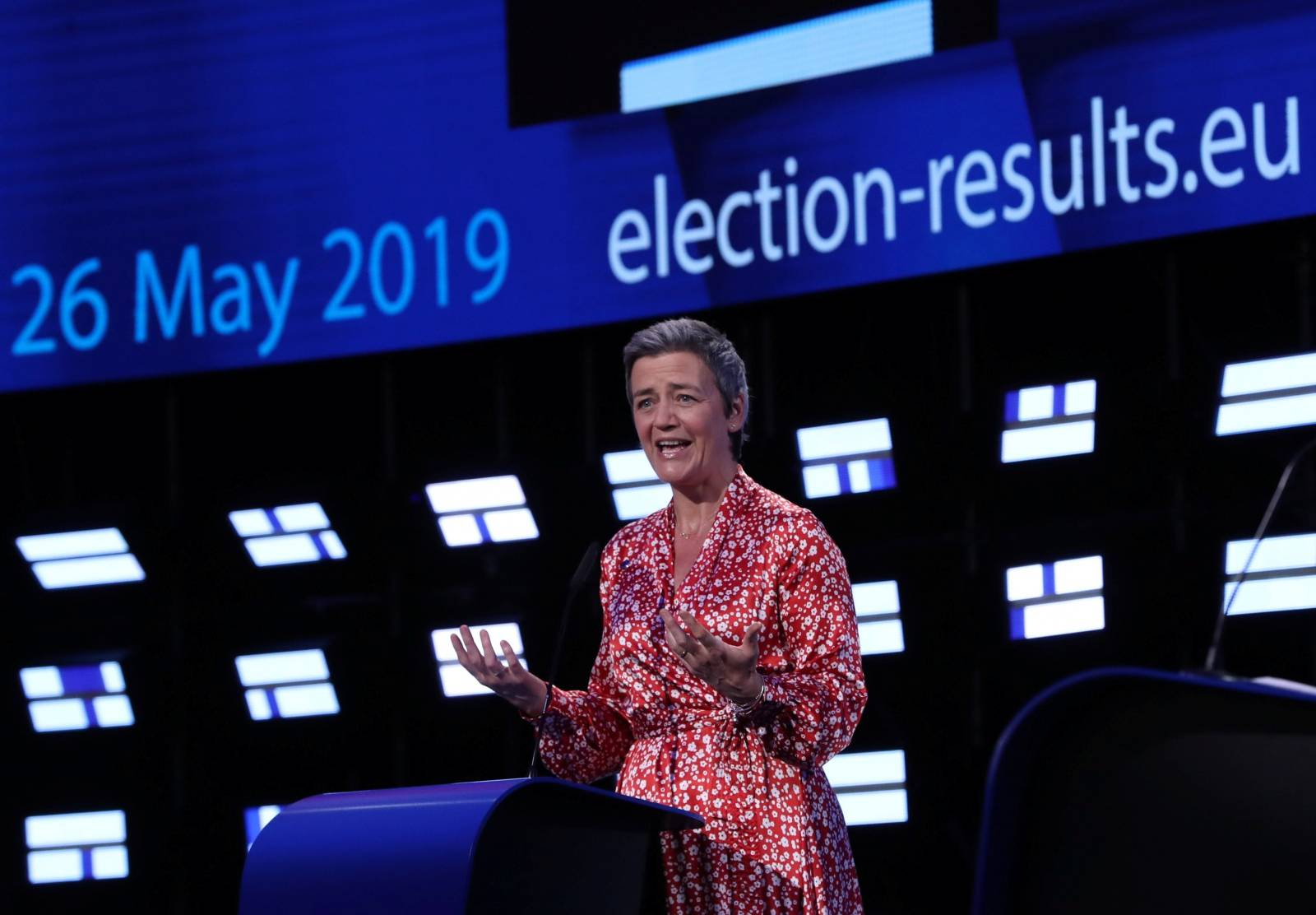 EU Competition Commissioner Margrethe Vestager speaks during the final estimation of the results of the European Parliament election in Brussels