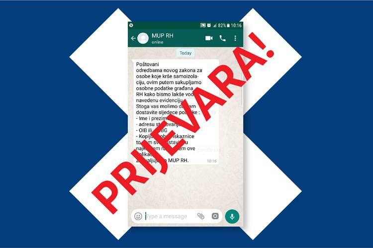 MUP objavio: Ne nasjedajte na poruke koje vas traže podatke!