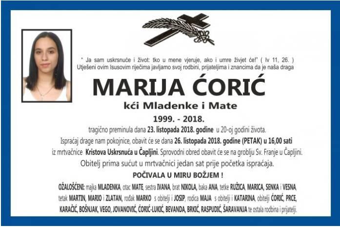 Tragično poginulu Mariju (19) ispratile stotine ljudi u Čapljini