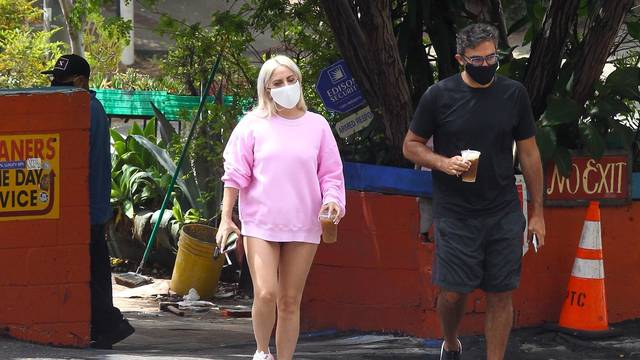 *EXCLUSIVE* Lady Gaga pictured getting  coffee with boyfriend Michael Polansky