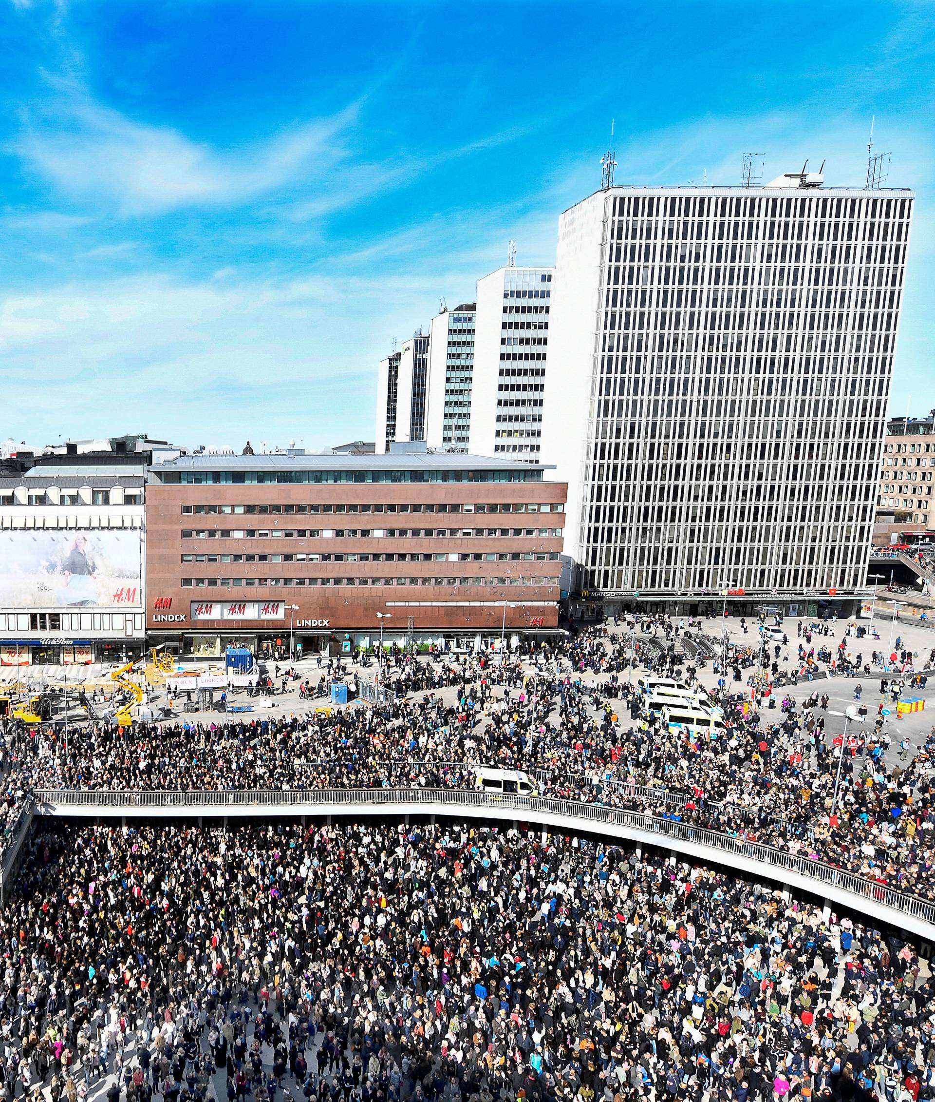 "People gather in Sergels Torg, central Stockholm for a ""Lovefest"" vigil against terrorism following Friday's terror attack on Drottninggatan"