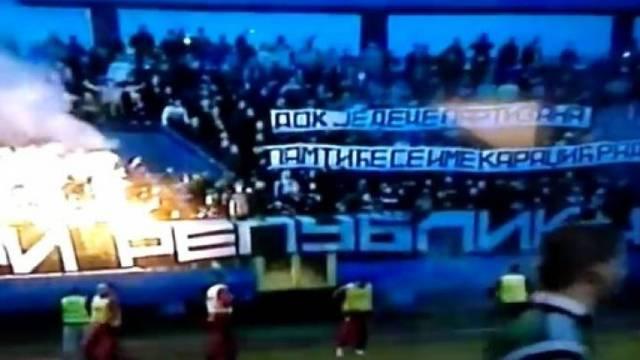 Partizanovi navijači veličali su genocidnog zločinca Karadžića