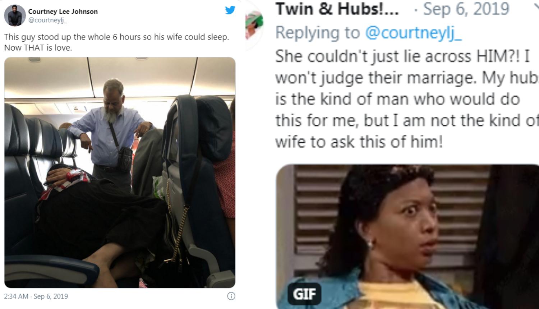 Ljubav ili sebičnost? Muškarac 6 sati stajao u avionu da bi njegova supruga mogla spavati