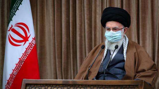 Iran's Supreme Leader Ayatollah Ali Khamenei delivers a televised speech in Tehran