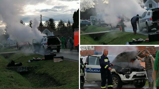Policajci jurili po migrante pa im se usred vožnje zapalio auto
