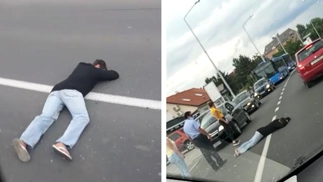 Ležao nasred ceste i napravio kolonu: 'Nitko neće proći!'