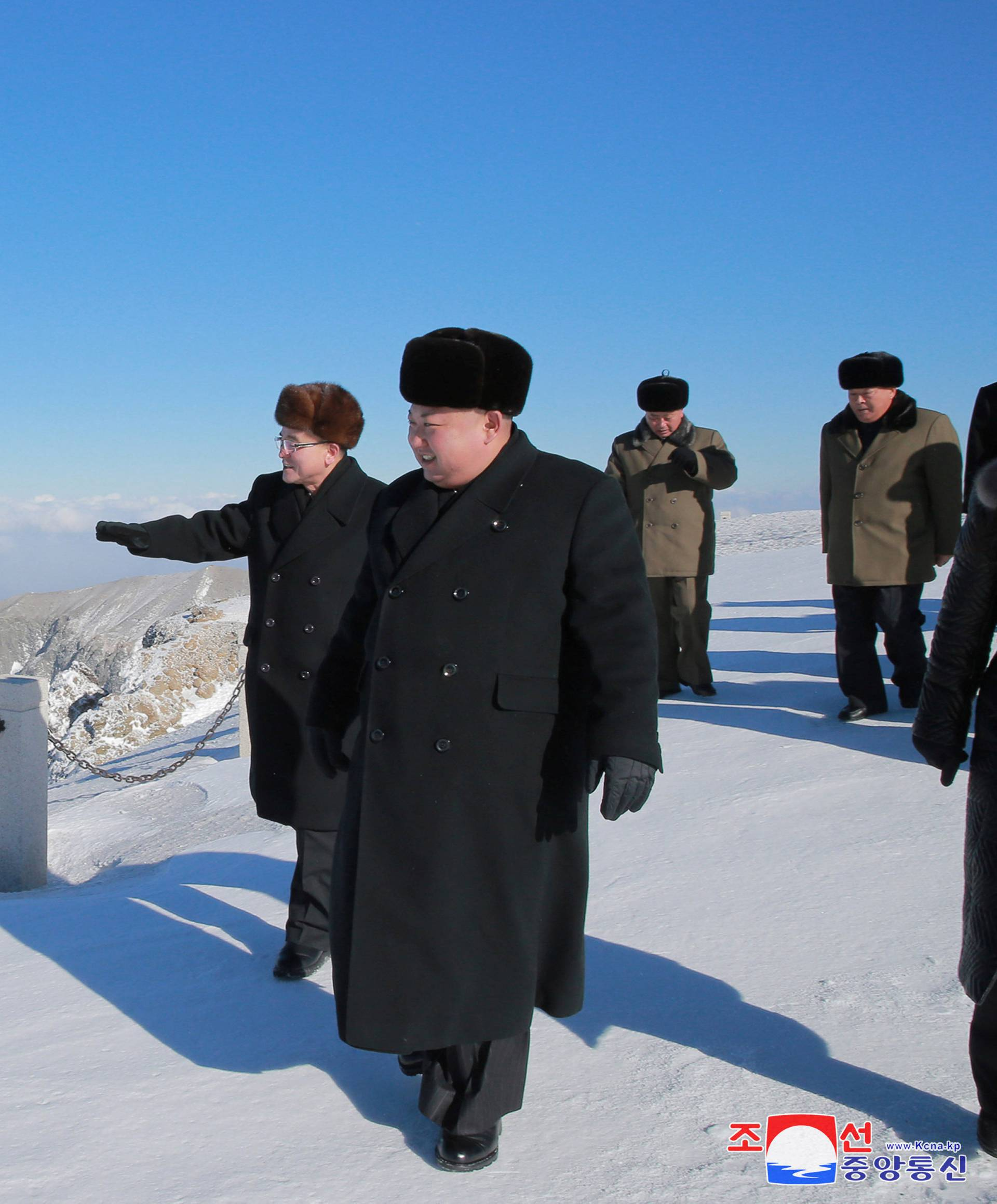 North Korean leader Kim Jong Un visits Mount Paektu in this photo released by North Korea's KCNA