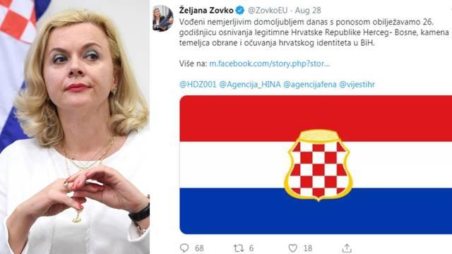 HDZ-ova eurozastupnica Zovko slavila osnivanje Herceg-Bosne