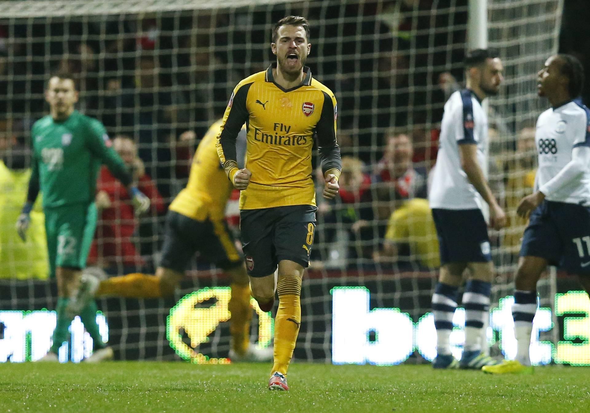 Arsenal's Aaron Ramsey celebrates scoring their first goal