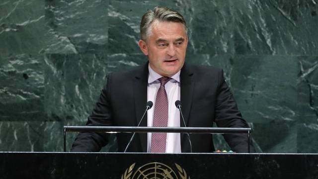 Bosnia and Herzegovina's President Zeljko Komsic addresses the 74th session of the United Nations General Assembly at U.N. headquarters in New York City, New York, U.S.