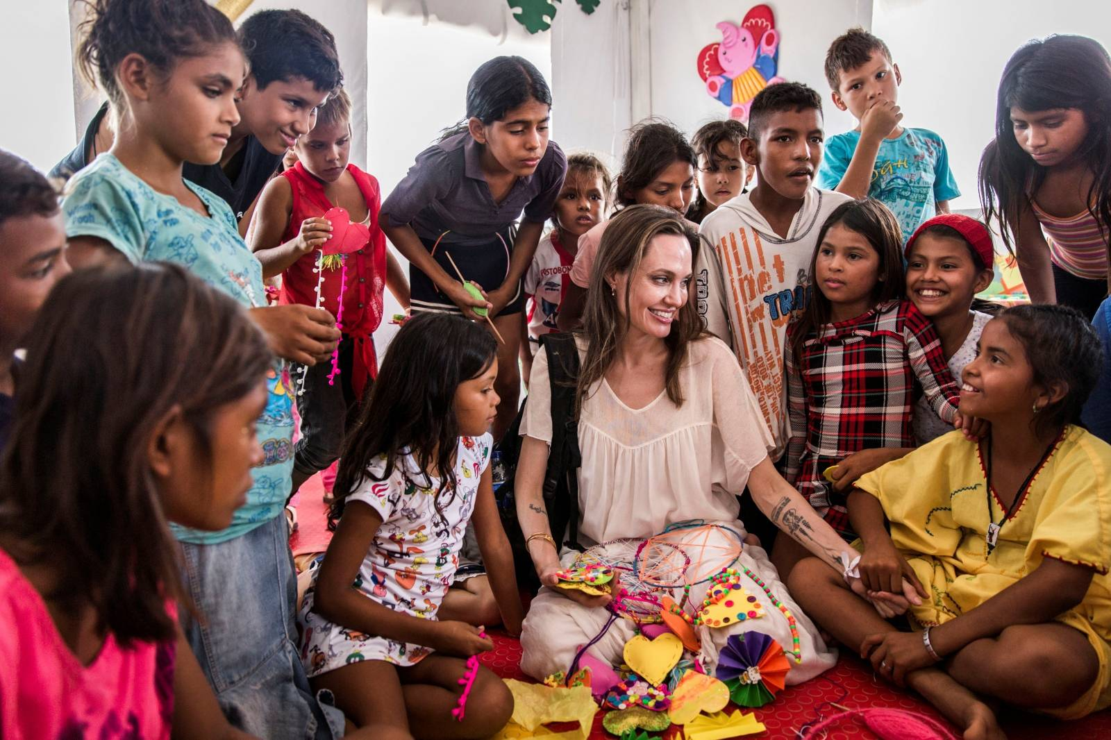 UNHCR Special Envoy Angelina Jolie meets with children at the Integrated Assistance Centre, in Maicao