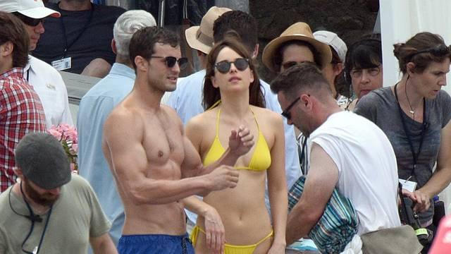 Dakota Johnson and Jamie Dornan filming Fifty Shades Of Grey in Nice