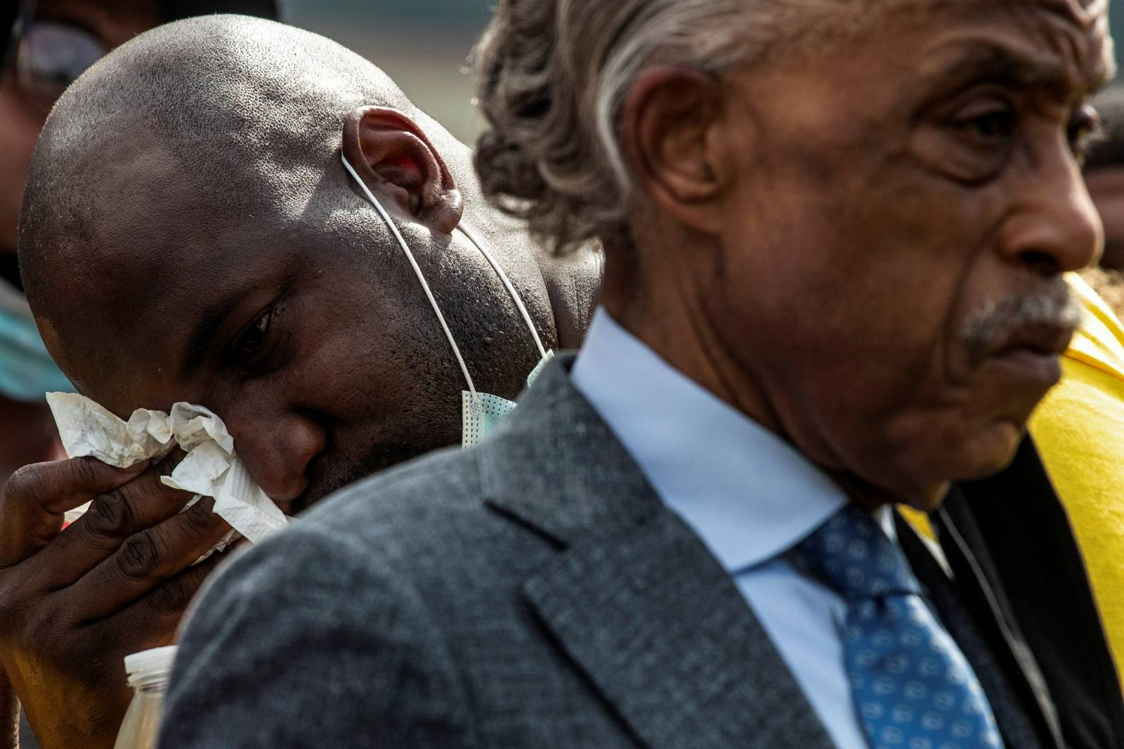Philonise Floyd, brother of George Floyd, wipes tears after speech at the public viewing of Floyd at The Fountain of Praise church in Houston