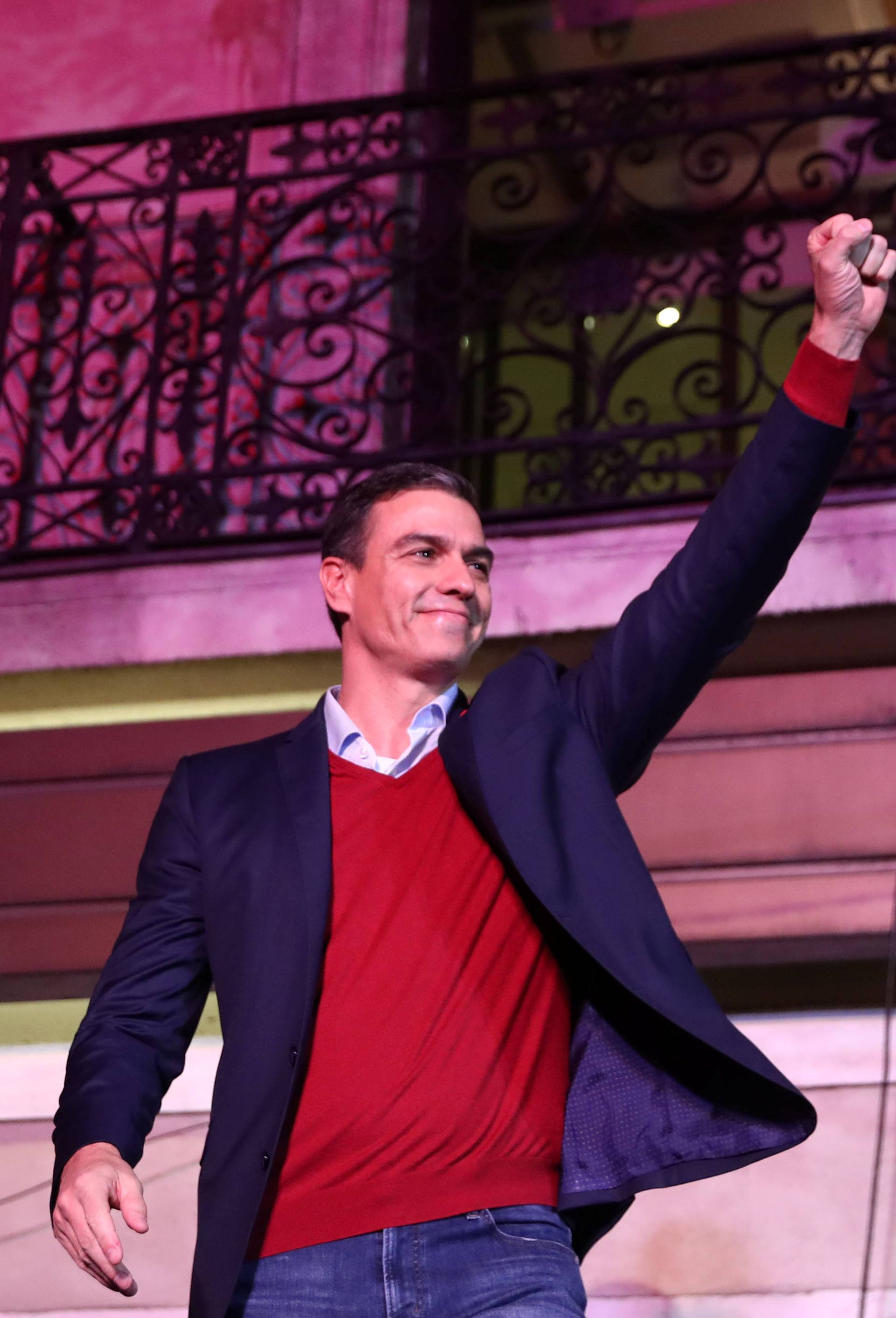 Spain's acting Prime Minister and Socialist Party leader (PSOE) candidate Pedro Sanchez speaks to supporters during Spain's general election at party headquarters in Madrid