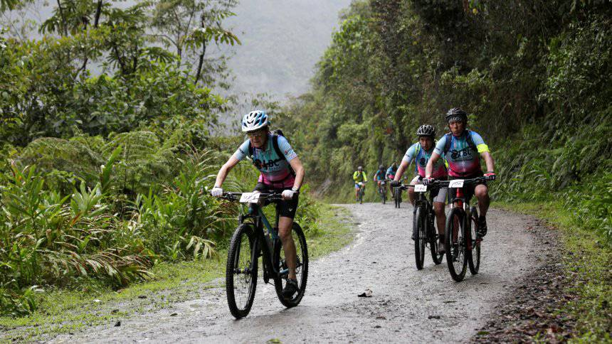 Mirta Munoz a 70-year-old runner participates in the Sky Race, Bolivia's toughest cycling competition